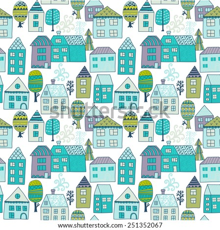 Cute cartoon pattern with tiny houses and trees. Hand drawn seamless ornament with hand drawn town - stock vector
