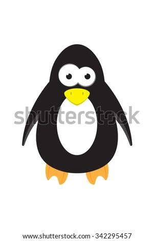 cute cartoon penguin animal vector character - stock vector