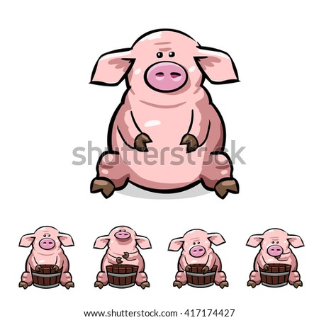 Cute cartoon pigs set. Vector illustration with no gradients. All in separate layers for easy editing. Can be use for children's projects - stock vector
