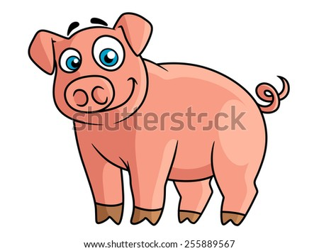 Cute cartoon pink pig with rounded snout, little brown hoofs and funny curly tail suitable for farm animals concept or agriculture design - stock vector