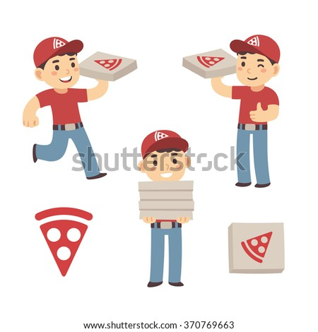 Cute cartoon pizza delivery boy set. Three poses with cardboard box and pizza slice logo. Vector illustration. - stock vector