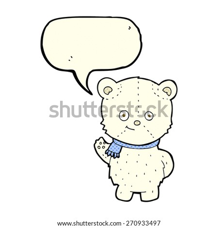 cute cartoon polar bear with speech bubble - stock vector