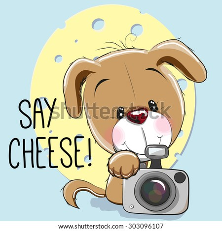 Cute cartoon Puppy with a camera on a gray background - stock vector