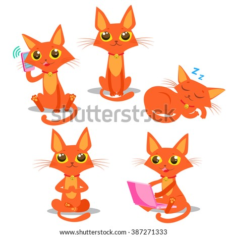Cute Cartoon Red Cat Vector Set. Sitting, Sleeping Cat. Cat And Phone And Computer Vector Illustration. - stock vector