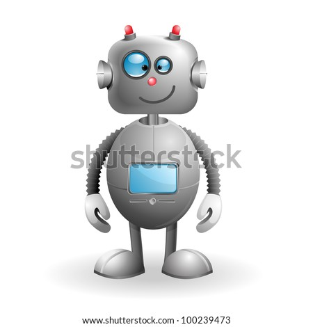 Cute cartoon Robot isolated on a white background. EPS 10 vector illustration - stock vector