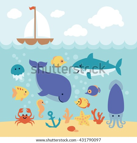 Cute cartoon sea animals swimming under the sea and boat on the waves. Art vector Illustration.  - stock vector