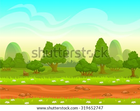 Cute cartoon seamless landscape with separated layers, summer day illustration - stock vector