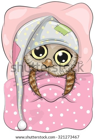 Cute Cartoon Sleeping Owl with a hood in a bed - stock vector