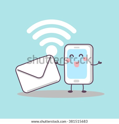 cute cartoon smart phone with email and wifi icon, great for technology concept - stock vector