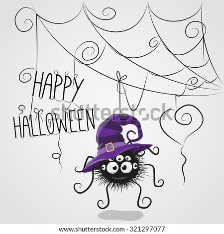 Cute cartoon spider in a witch hat is hanging on the web - stock vector