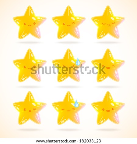 cute cartoon star emotions set - stock vector