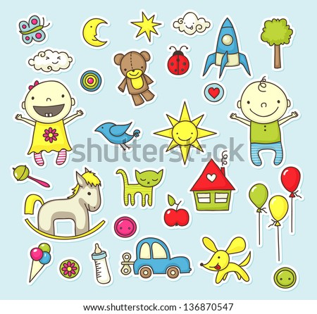 Cute cartoon stickers with toys and other baby related elements. - stock vector