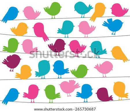 Cute Cartoon Style Bird Silhouettes in Vector Format - stock vector