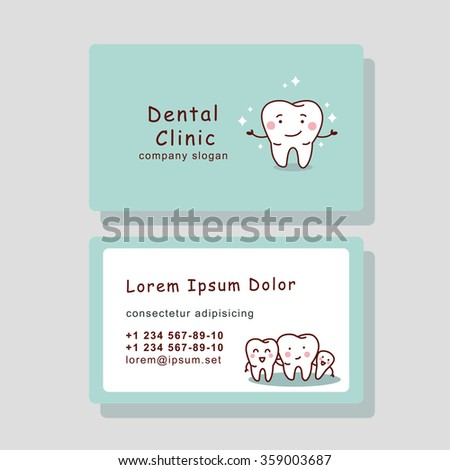 cute cartoon tooth business card, great for your design - stock vector
