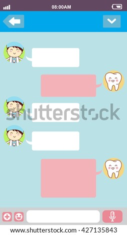 cute cartoon tooth with doctor in smart phone chat bubbles with blank text, great for your degisn - stock vector