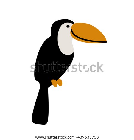 Cute cartoon toucan isolated on white background. Art vector illustration. - stock vector
