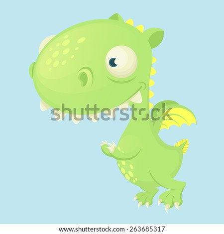 cute cartoon vector dragon with big head and small wings - stock vector