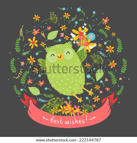 "Cute cartoon vector owl with flowers on dark background. Ribbon with ""Best wishes""or space for other text - stock vector"