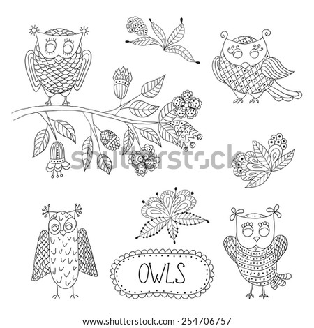 Cute cartoon vector owls  with tree brunche and flowers. - stock vector