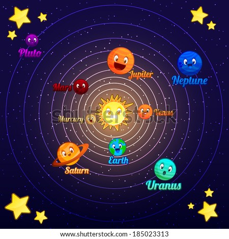 Cute Cartoon Vector Solar System - stock vector
