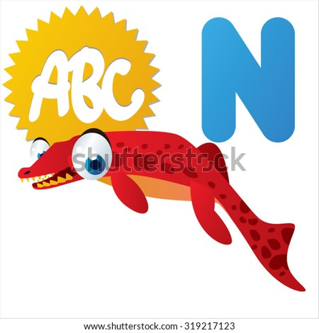 Cute cartoon Water Dinosaurs ABC: N is for Neptunidraco - stock vector