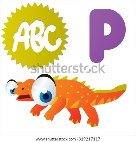 Cute cartoon Water Dinosaurs ABC: P is for Paraplacodus - stock vector