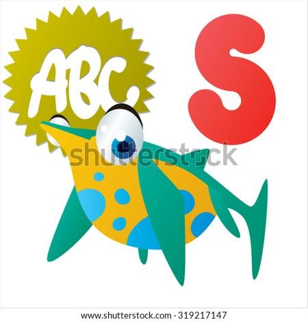 Cute cartoon Water Dinosaurs ABC: S is for Shonisaurus - stock vector