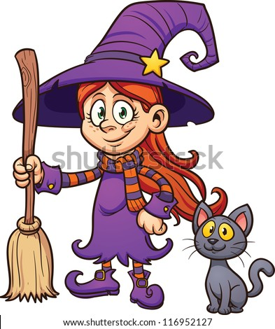 Cute cartoon witch with black cat  Vector clip art illustration with    Cute Cartoon Witch