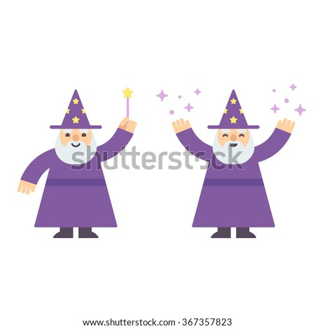 Cute cartoon wizard casting spell with magic wand. Modern flat style vector illustration.  - stock vector