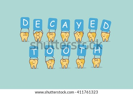 cute cartoon yellow tooth jump with billboard,decayed tooth, great for health dental care concept - stock vector