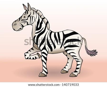 Cute cartoon zebra. Vector illustration. - stock vector