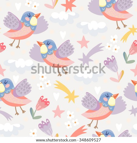 Cute cartoonish pattern of flying birds and clouds.  - stock vector
