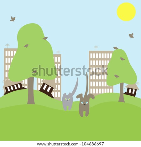 Cute cat and dog run away from big town towards nature. Concept illustration of urban problems - stock vector