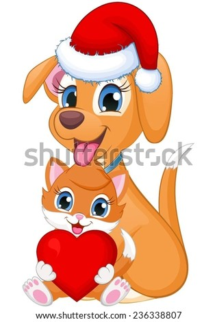 Cute cat and dog with heart and a Santa hat - stock vector