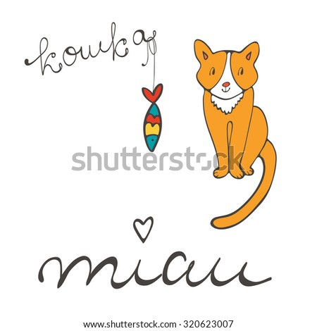 Cute cat character illustration with russian lettering of cat word , koshka means cat in Russian, and sardine in vector format - stock vector