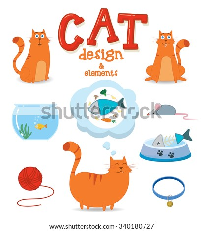 Cute cat design with elements. Vector illustration - stock vector