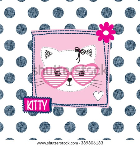 cute cat head with sunglasses on polka dots background, T-shirt design for girls vector illustration - stock vector
