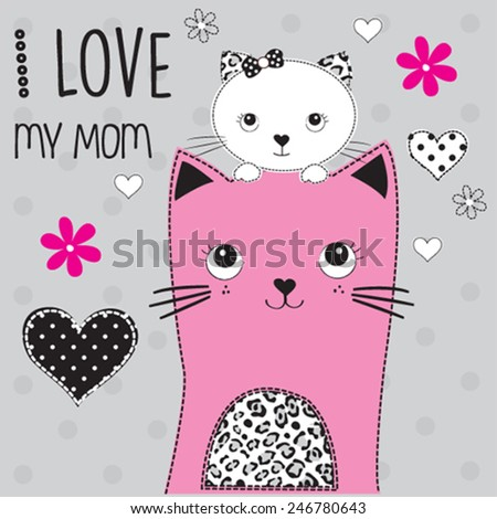 cute cat mother and daughter mothers day card vector illustration - stock vector