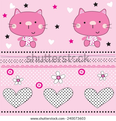 cute cat pattern with heart vector illustration - stock vector