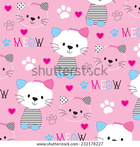cute cat pattern with paw vector illustration - stock vector