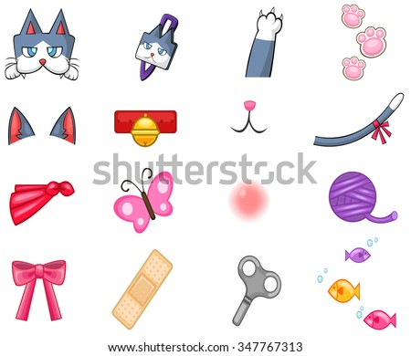 Cute cat pet item, toy, and accessories decoration object icon collection set used for graphic design sticker and clip art, create by cartoon vector