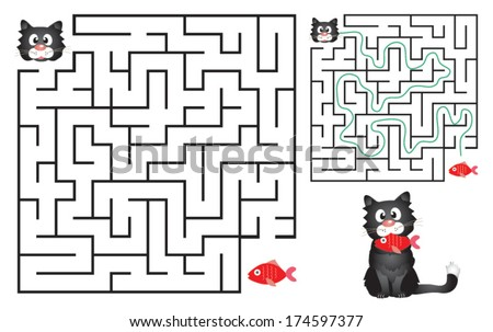 Cute Cat's Maze Game (help cat find his fish) Maze puzzle with solution. Vector illustration - stock vector