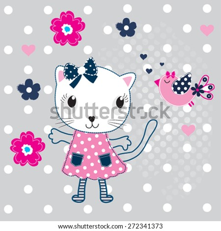 cute cat with bird and flowers vector illustration - stock vector
