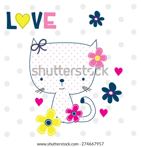 cute cat with flower, T-shirt design vector illustration - stock vector