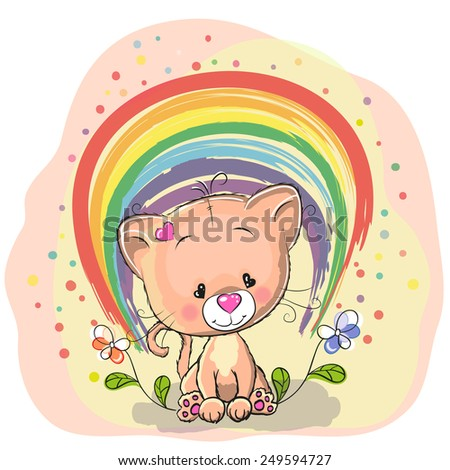 Cute Cat with rainbow and flowers - stock vector