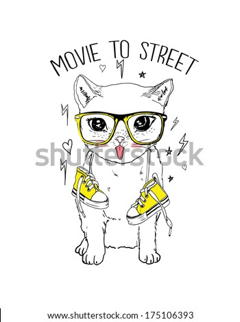 cute cat with shoes - stock vector