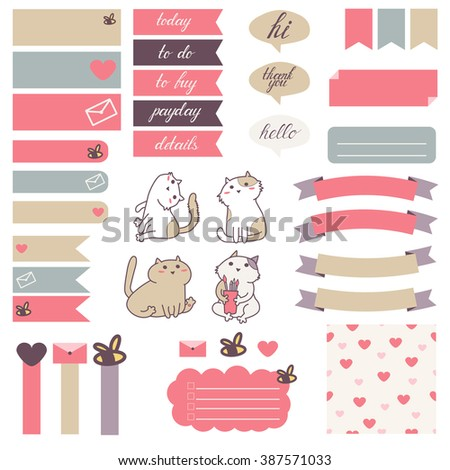Cute cats and heart pattern in pastel pink, beige and gray. Stickers for organized planner. Template for planner, scrapbooking, wrapping, wedding invitation, notebooks, diary. - stock vector