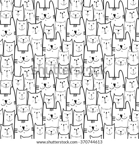 Cute cats black and white seamless pattern background - stock vector