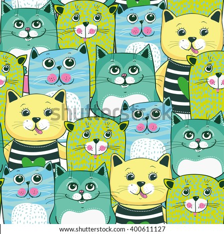 Cute cats colorful seamless pattern background - stock vector