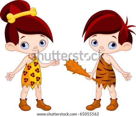 Cute Cave boy with Club and cave girl - stock vector